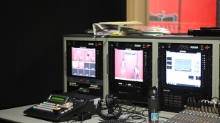 The Friday Morning Announcements, filmed in the TV/Video studio every Thursday afternoon, will likely significantly evolve this year. (Photo by Rachel Landau '16)