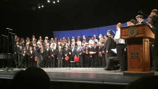 Sunday's program featured a culminating combined set that included all the singers from Boston Saengerfest Men's Chorus, Boston City Singer Fellas, the high school's Men's Chorus, and the Yale Wiffenpoofs. (Matt Lieberman '16)