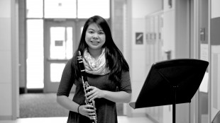 Sabrina Chen '17 plays instruments in both the school band and the Boston Youth Symphony Orchestra. (Photo by Rachel Landau '16)