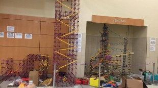 The K'nex structure in the cafeteria reaches up to the top of the second floor ceiling.