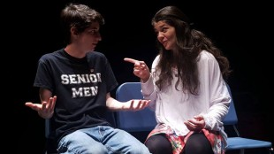 """Student director Sylvia Czubarow '16 and cast member Jimmy Connors '16 exchange jokes in the """"Polish Joke"""" play."""