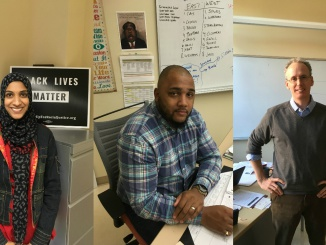 From left to right: teachers Ms. Shima Khan, Mr. Grant Hightower, and Mr. Alan Brazier.